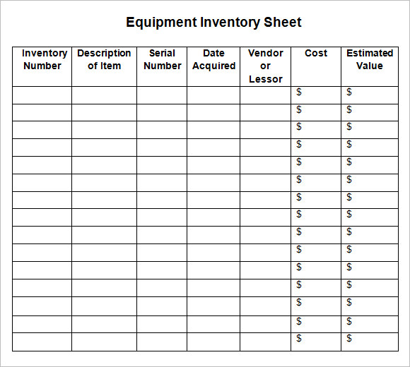 8+ Sample Inventory Sheets | Sample Templates