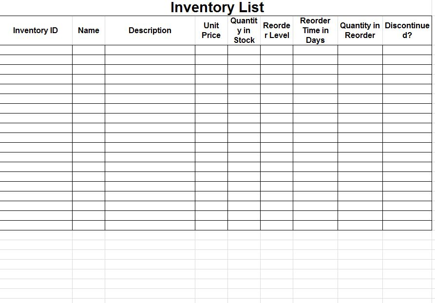 inventory sheet sample