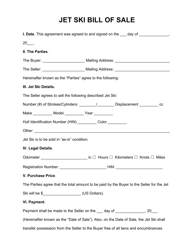 Free Jet Ski Bill of Sale Form   Word | PDF | eForms – Free