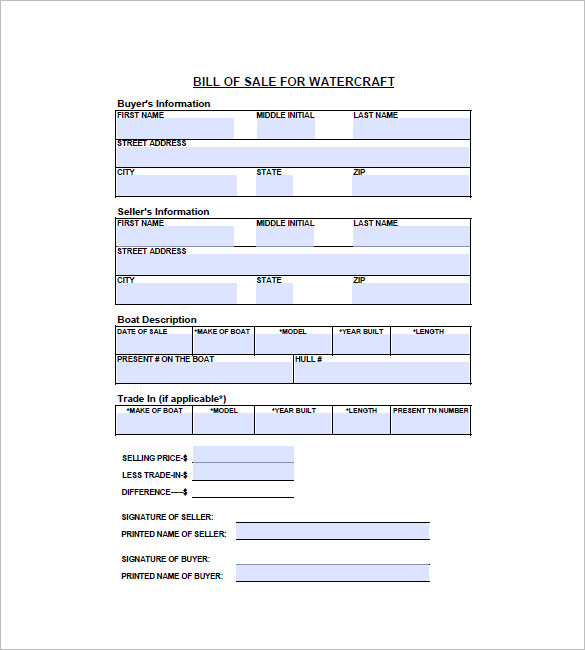 Free Kansas Watercraft or Boat Bill of Sale Form   Download PDF | Word