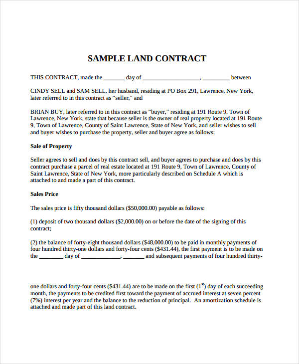 7+ Land Contract Forms   Free Sample, Example, Format | Free