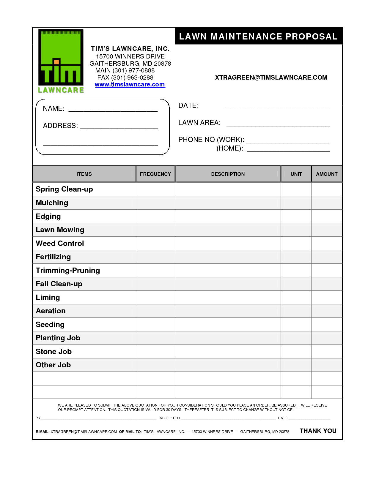 Lawn Service Proposal Template Free Emmamcintyrephotography