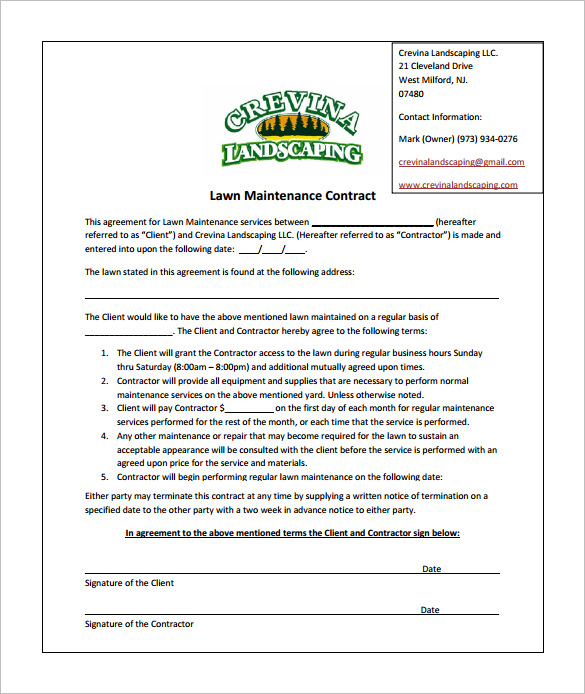 lawn care proposal template 9 lawn service contract templates free