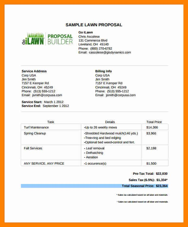 Lawn Care Bid Template Best Of Doc Bid Templates – Bid Proposal