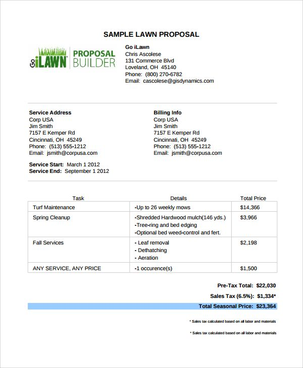 lawn care proposal template price proposal template sample