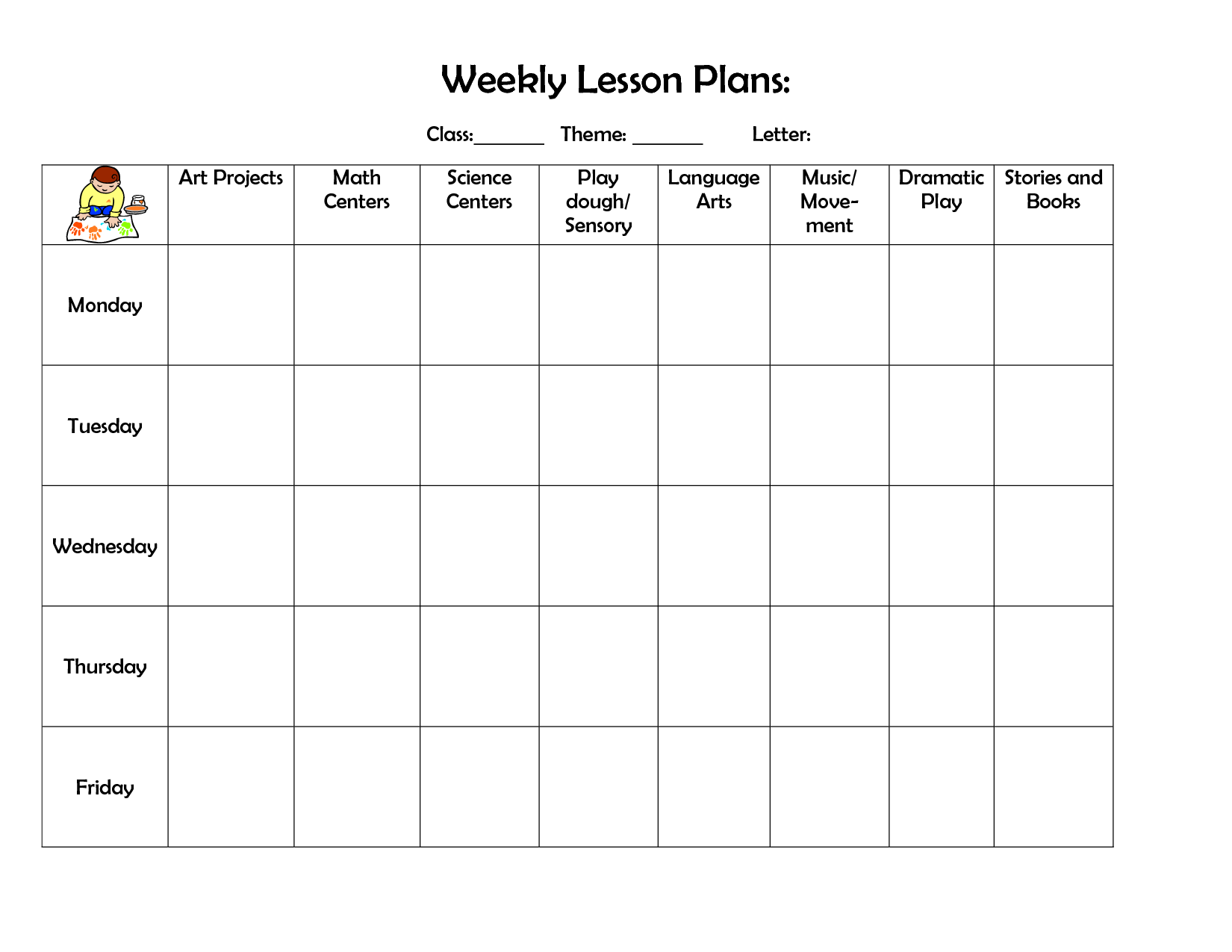 free preschool weekly lesson plan template   Ecza.solinf.co