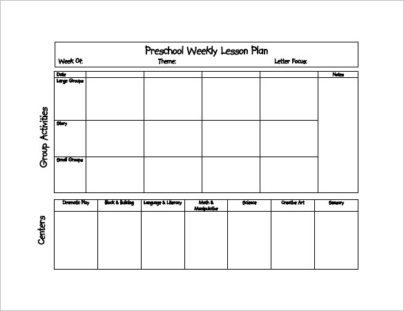 Preschool Lesson Plan Template   21+ Free Word, Excel, PDF Format