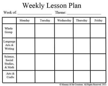 Weekly Preschool Lesson Plan Template by Mommy and Me Creations | TpT