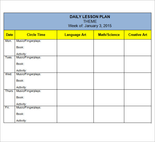 pre k lesson plan template   Ecza.solinf.co