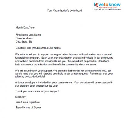 Samples Of Non Profit Fundraising Letters Letter For Donations
