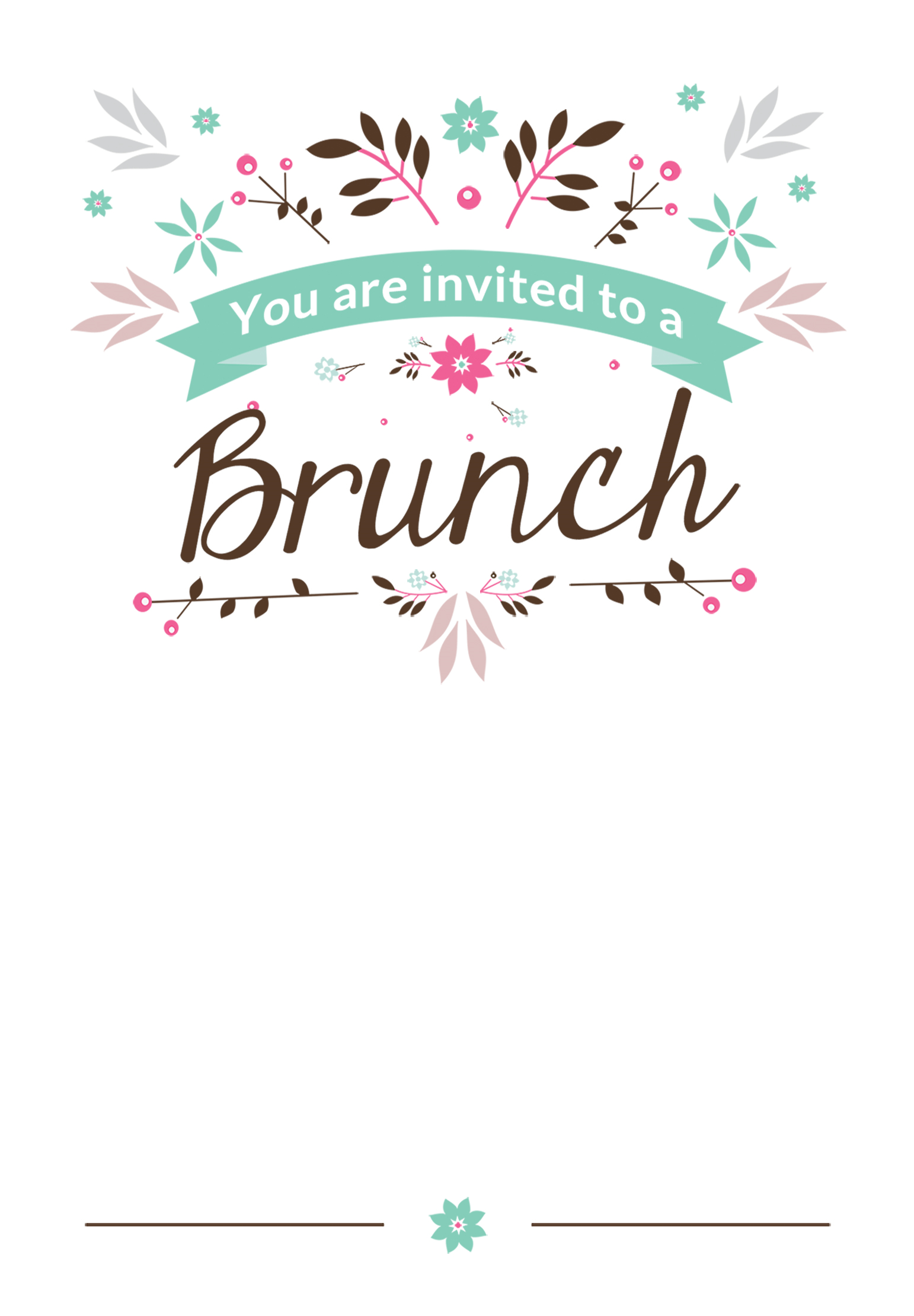 Flat Floral   Free Printable Brunch Invitation Template