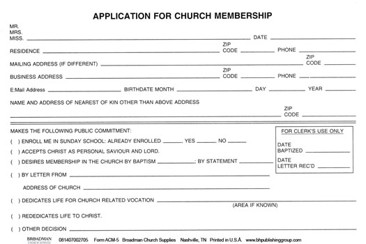 church membership form template   Mini.mfagency.co