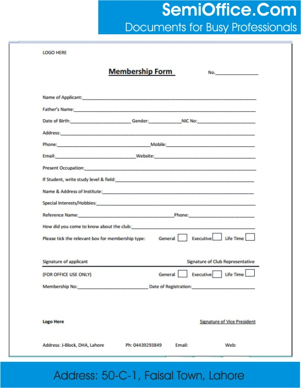 membership form template membership forms templates