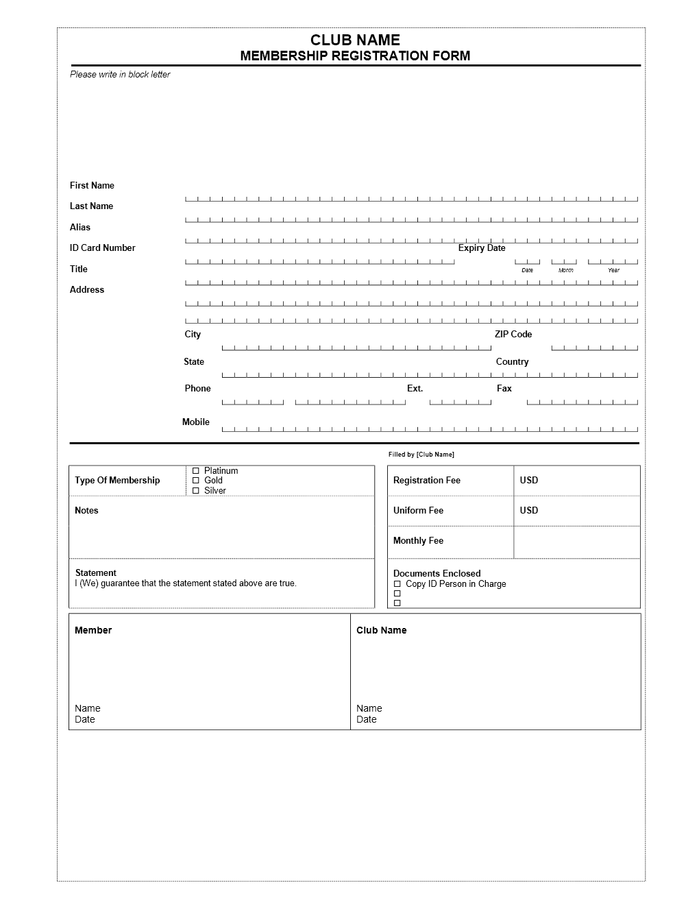 template for membership application form   Mini.mfagency.co