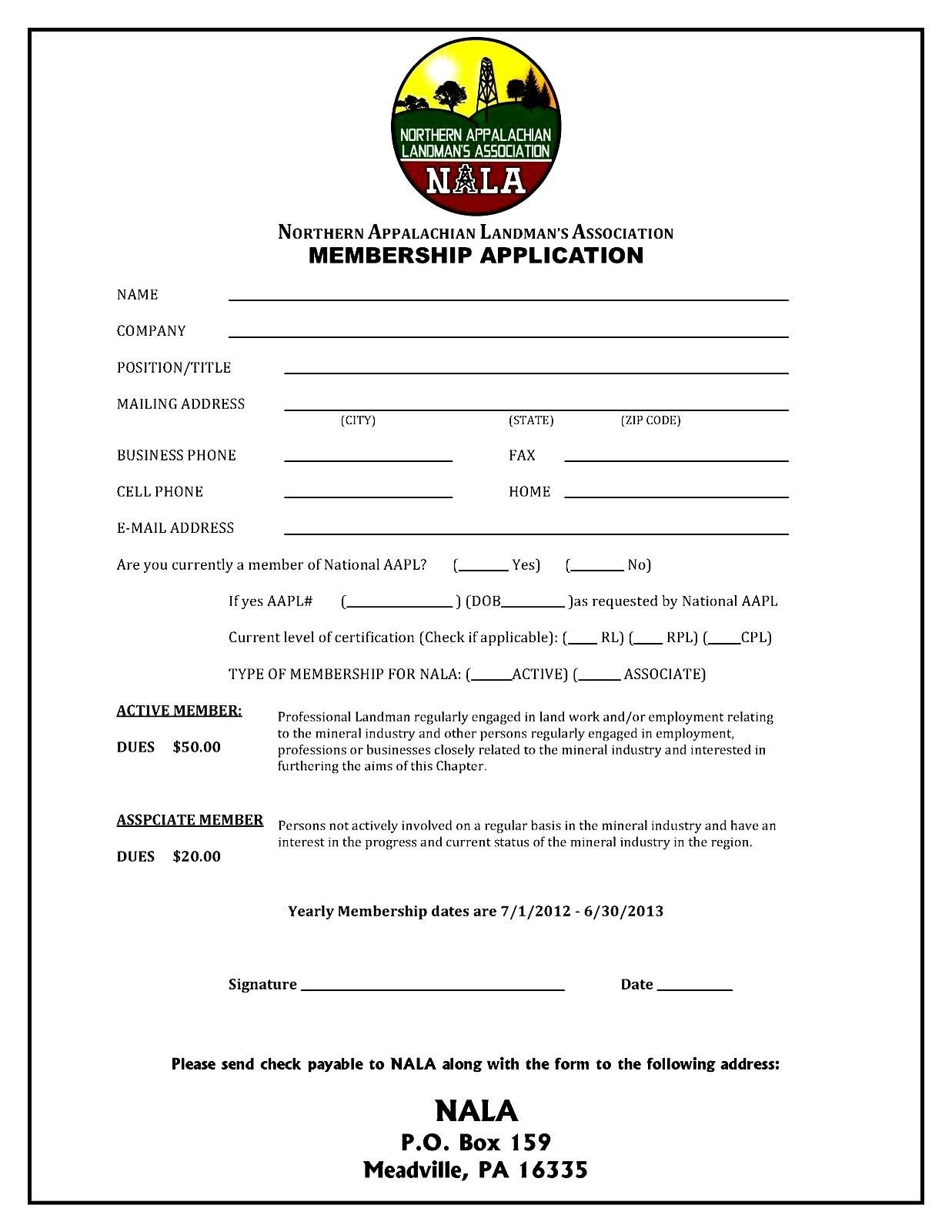 Sample Of A Membership Form Best Of Membership Application