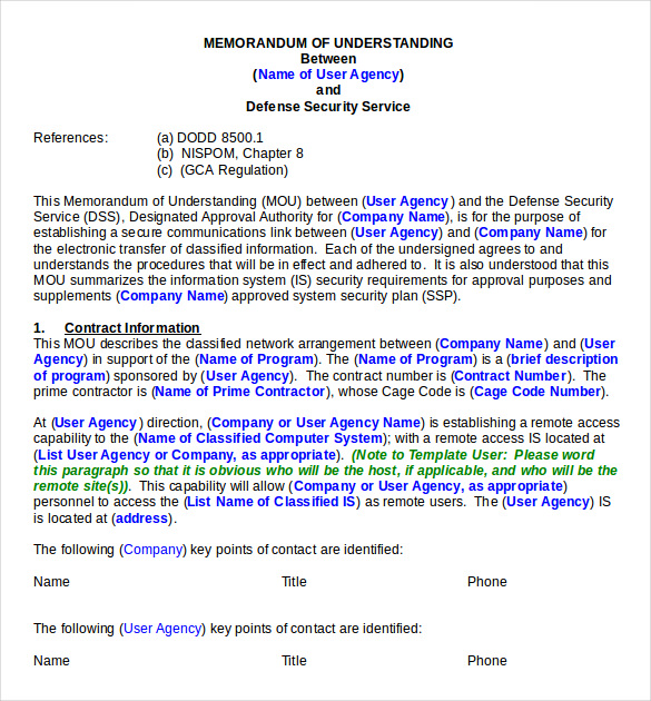 Memorandum of Understanding Sample Template in Word and Pdf formats