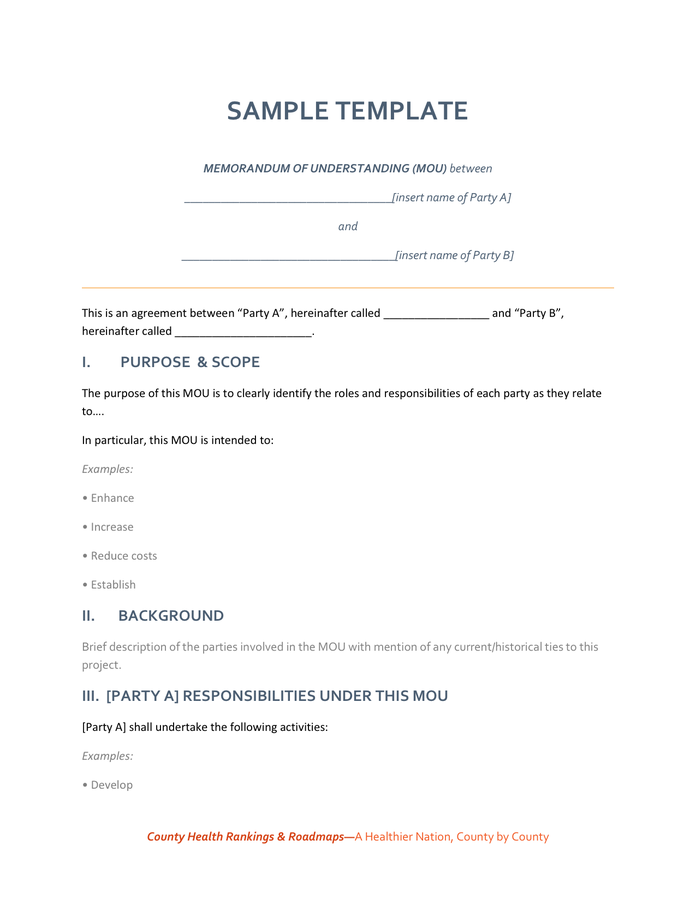 free mou agreement template mou agreement template agreement of