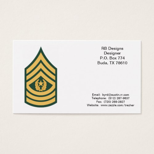 Military Business Cards Command Sergeant Major E 9 Csm Business