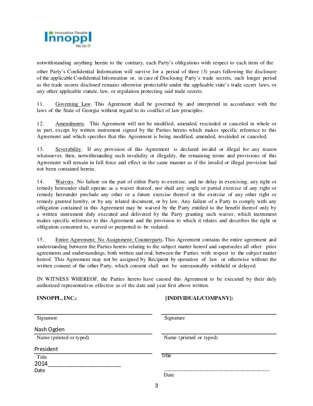 Non Disclosure Agreement Template | NDA | All Form Templates