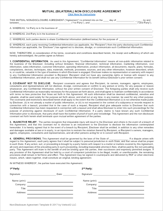 mutual non disclosure agreement template mutual agreement template