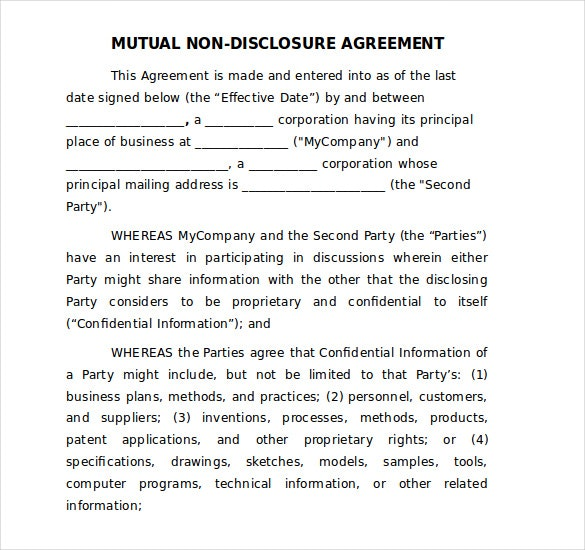Non disclosure agreement template principal depict mutual nda word