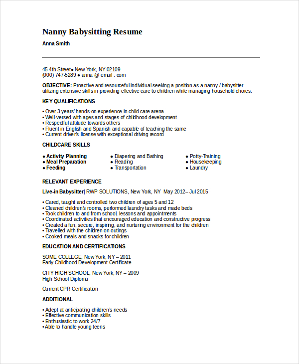 Nanny Resume Template   5+ Free Word, PDF Document Download | Free