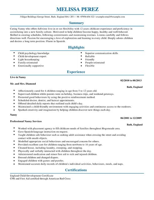 Nanny Resume Template   Resume Templates