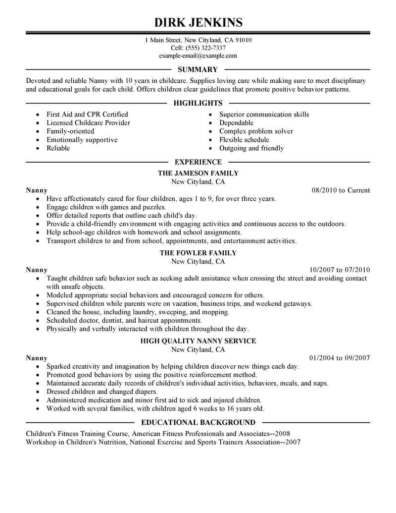 free nanny resume templates   Mini.mfagency.co