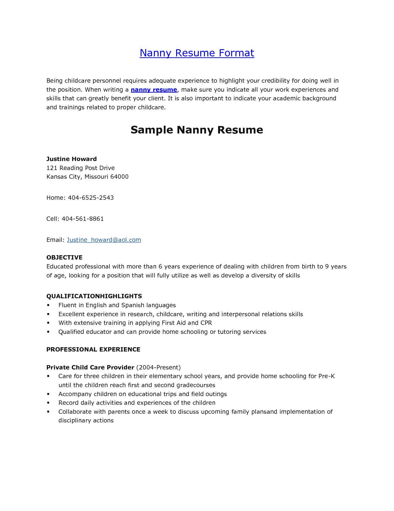 Nanny Resume Template Daway Dabrowa Co | amypark.us