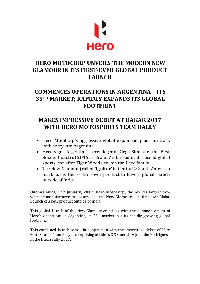 Hero Glamour Launch Argentina   Press Release