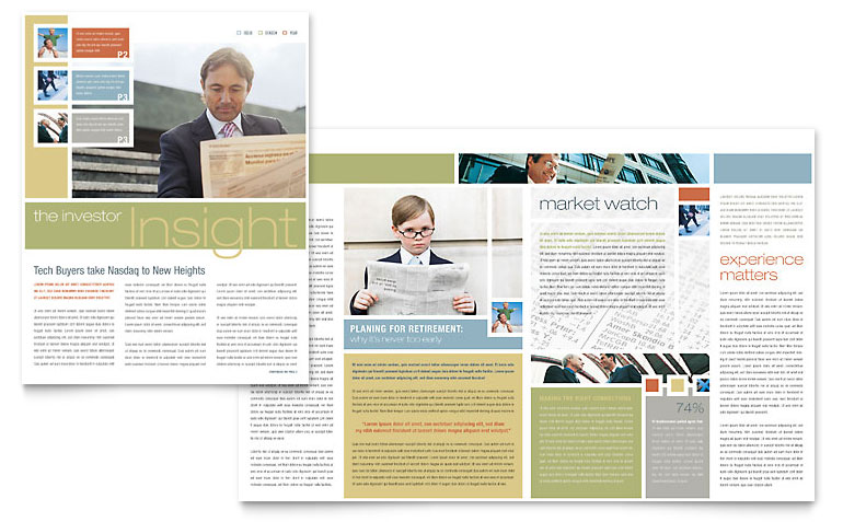 Investment Advisor Newsletter Template   Word & Publisher