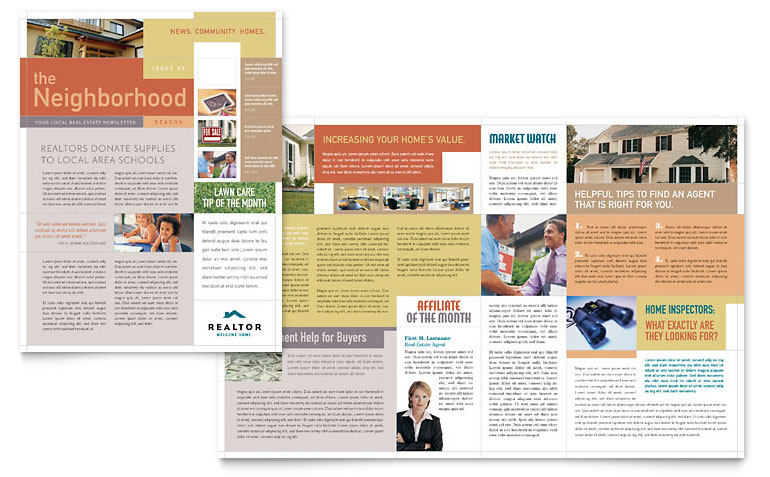 Realtor & Real Estate Agency Newsletter Template   Word & Publisher