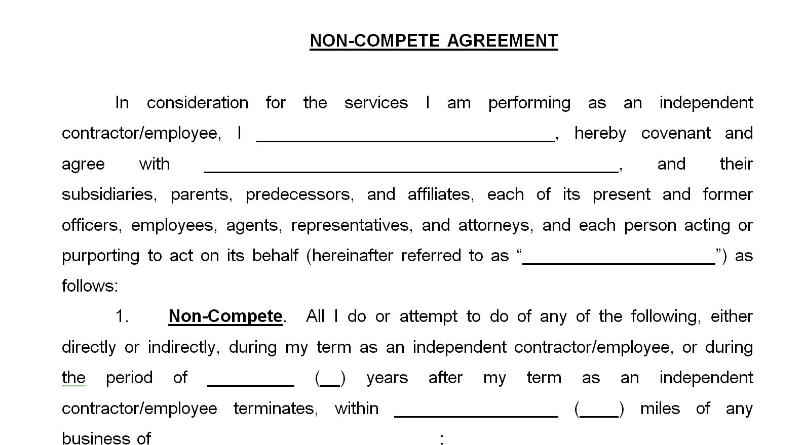 Non Compete Agreement Form Emmamcintyrephotography