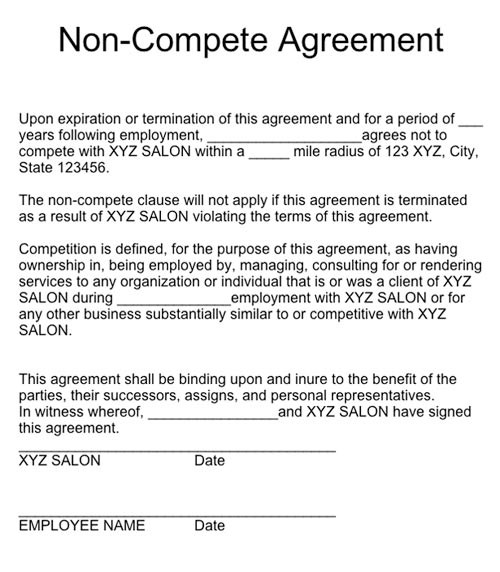 Do Not Compete Form Do Not Compete Contract Zoroblaszczakco | The