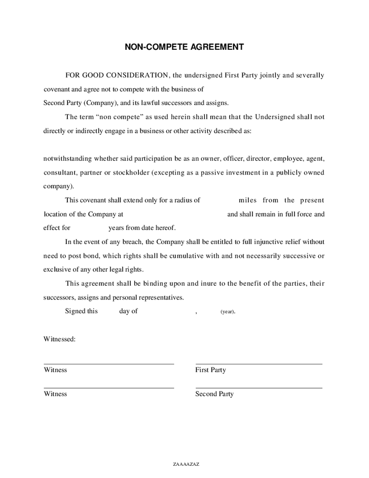 employee non compete agreement template non competition clause