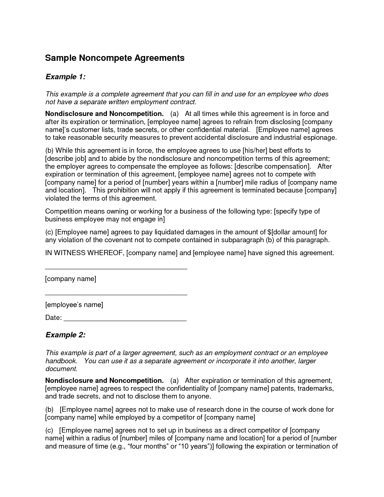 Employment Agreement Non Compete Clause Sample