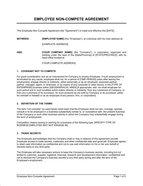 non compete non disclosure agreement template non disclosure and