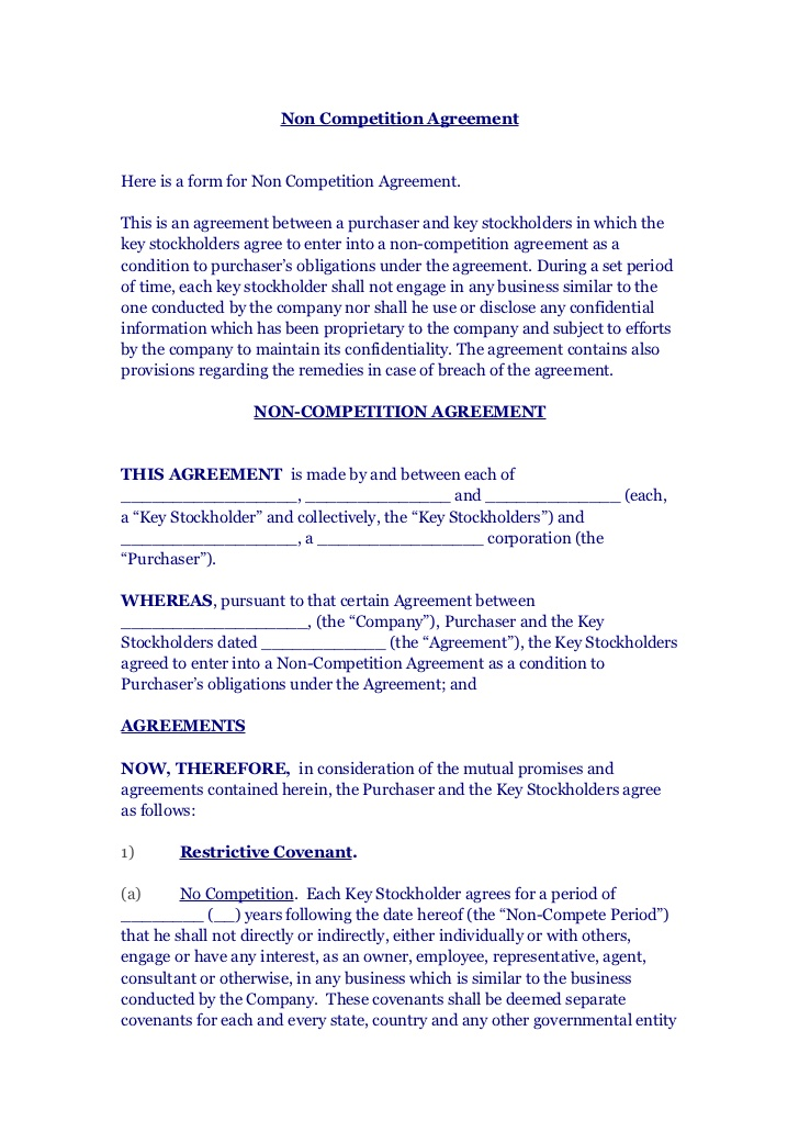 non competition agreement 1