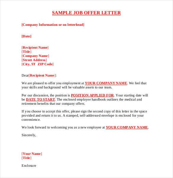 employment letter of offer template offer letter sample template