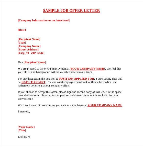 Printable Sample Offer Letter Template Form | Free Legal Documents