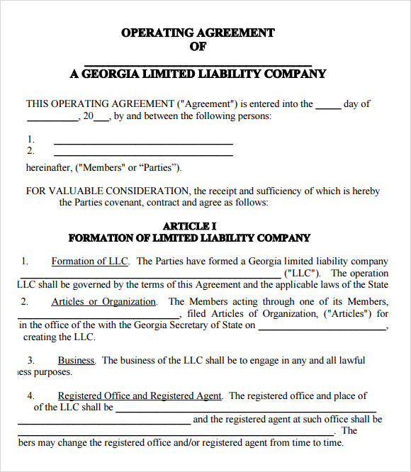 Free Florida Llc Operating Agreement Template
