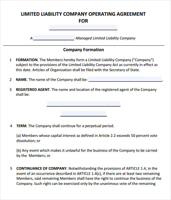 free operating agreement template llc operating agreement template