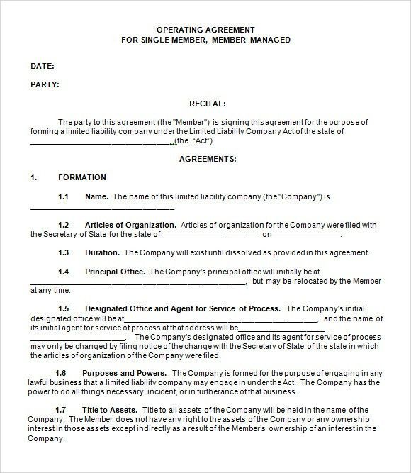 llc operating agreement template free operating agreement template