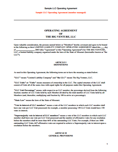 llc ownership agreement template llc operating agreement template