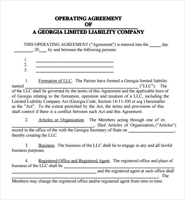 operations agreement template free operating agreement template
