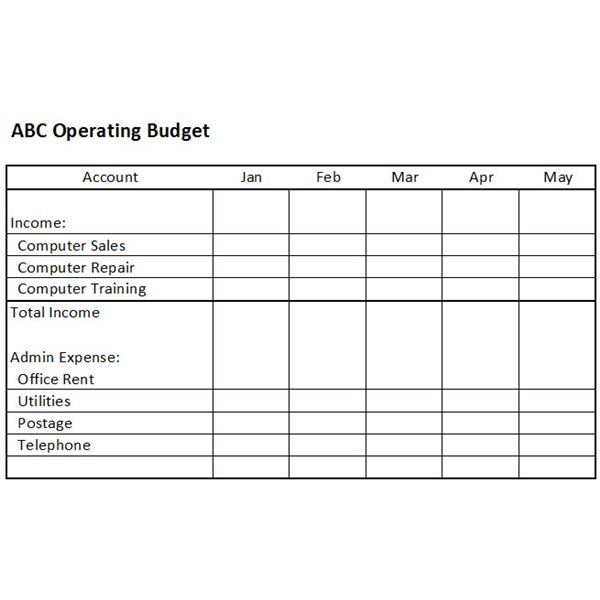 Operating Budget Template Tk on Company Budget Template Small