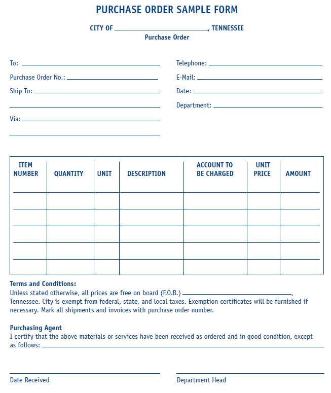 Purchase Order Form (Sample) | MTAS