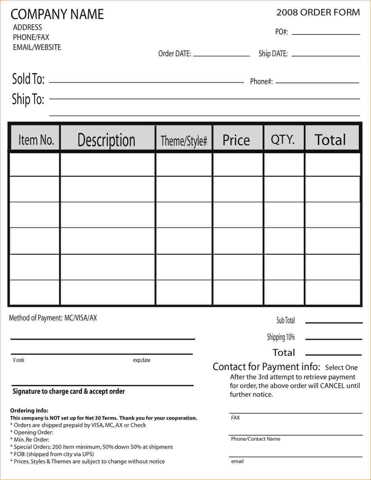 sample orderform corol lyfeline co order form