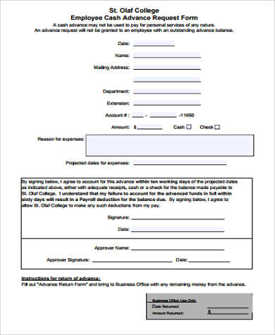 8+ Sample Employee Advance Forms | Sample Templates