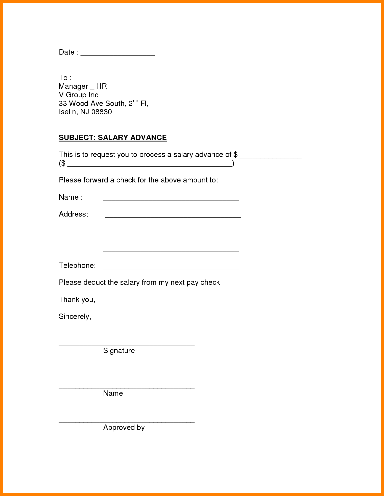 Payroll Advance Form Fabulous Letter Format For Advance Salary